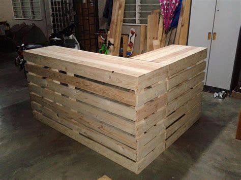 desk made from pallets pallet desk counter or reception desk pallet furniture diy