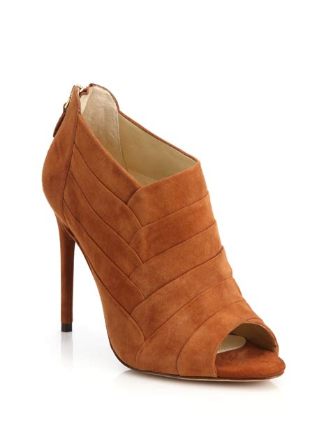 Peep Toe Booties Galore by Alexandre Birman Petals Suede Peep Toe Ankle Booties In