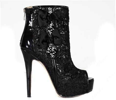 black lace stiletto heels peep toe ankle boots shoespie