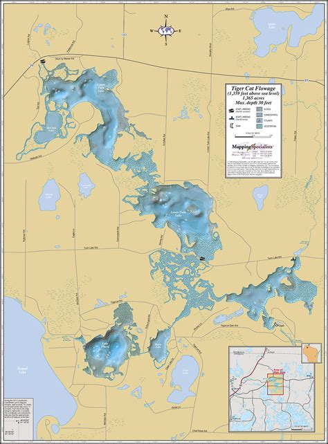 wall maps tiger cat flowage wall map