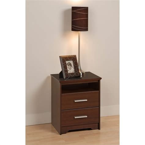 2 drawer nightstand espresso tall 2 drawer nightstand in espresso finish ech 2250