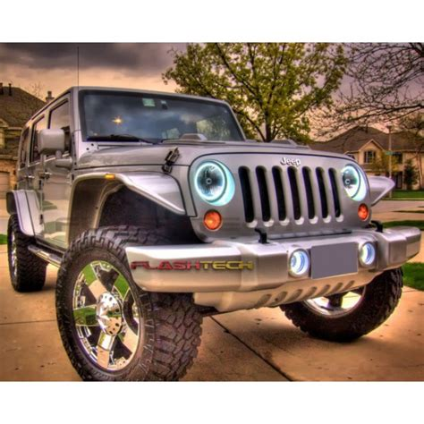 halo jeep wrangler jeep wrangler white led halo headlight kit 2007 2015