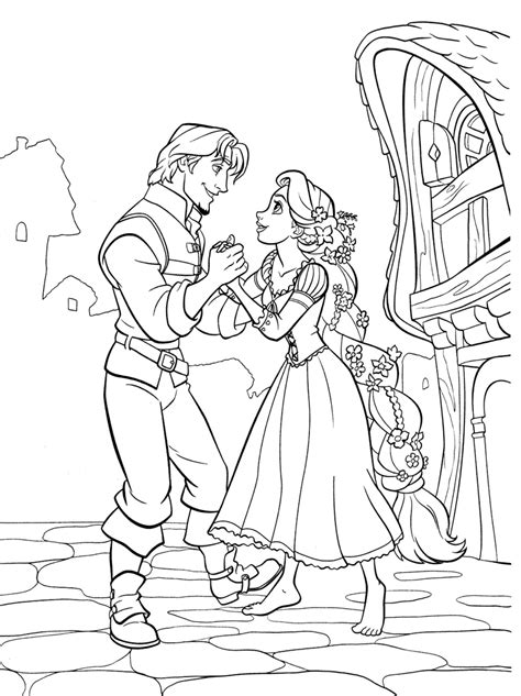 Free El Tangled Coloring Pages Rapunzel And Flynn Coloring Pages