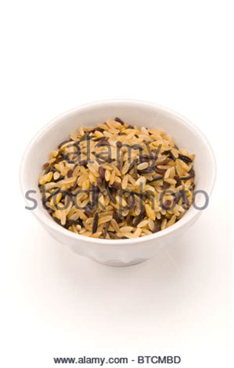 whole grain 5 blend rice bowl of grain parboiled rice isolated on white from