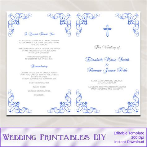 catholic wedding program template diy royal blue ceremony