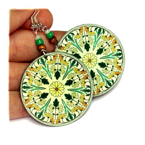 wildflowers ornament earrings green yellow