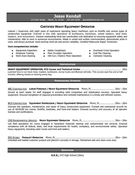 Heavy Equipment Mechanic Cover Letter by 14 Sle Heavy Equipment Operator Resume Slebusinessresume Slebusinessresume