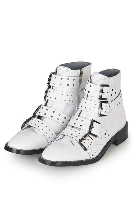 topshop limited edition leather boots in white lyst