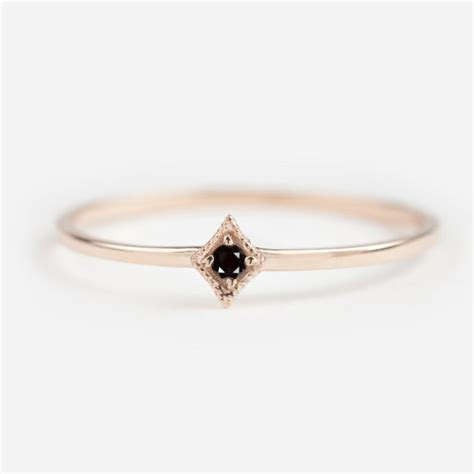 tiny black ring black engagement by