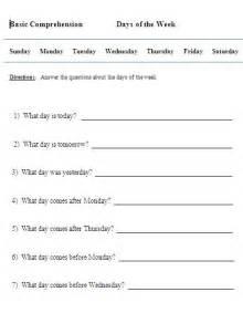 days of the week worksheets for kindergarten calendar