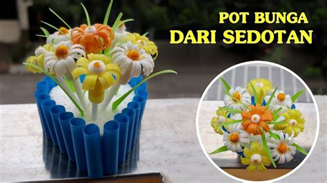 membuat pot bunga  sedotan  womens day
