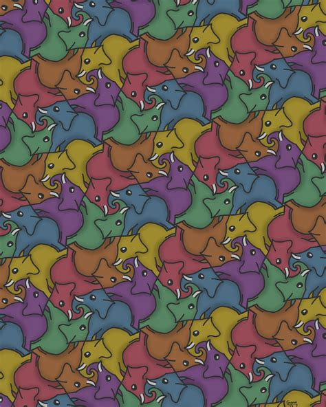 animal tessellations related keywords suggestions for elephant tessellation
