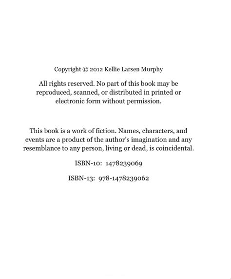 Copyright Template For Book by A Of This A Of Createspace K L Murphy
