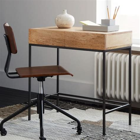 West Elm Small Desk Industrial Storage Mini Desk West Elm