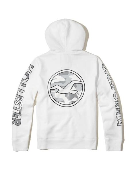 Hollister Print Logo Hoodie hollister logo graphic hoodie in white for lyst