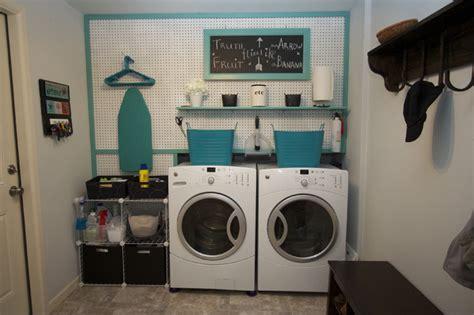 laundry room  peg board contemporary laundry room