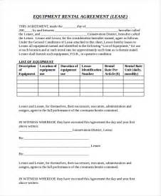 equipment lease contract template equipment rental agreement templates free