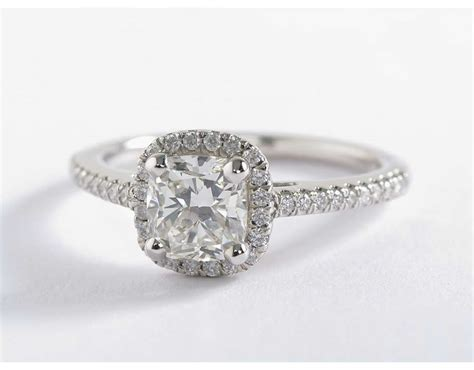 cusion cut cushion cut halo diamond engagement ring in 14k white gold