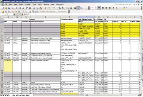 data integration requirements template mapping analyst for excel in informatica 8 6 obia