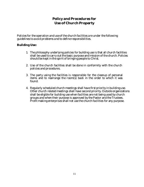 Permission Letter To Use Facilities Policy And Procedure Manual Church Sle