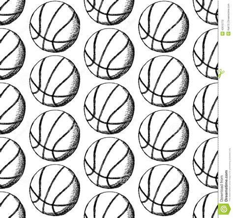 vintage pattern sketch sketch basketball ball vector seamless pattern stock