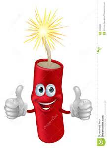 Illustration of a cartoon firework firecracker or dynamite character