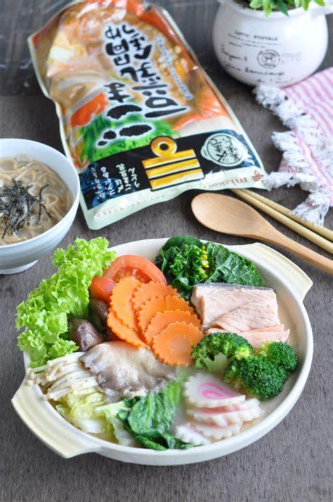 Mizkan Tonkotsu Shoyu Nabe Pork Bone Soy Soup Base salmon vegetables nabe tsuyu hotpot using mizkan s hotpot soup base eat what tonight