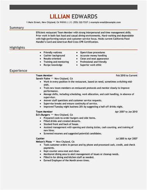 Fast Food Worker Cover Letter by Fast Food Resume Wording Resume Template Cover Letter