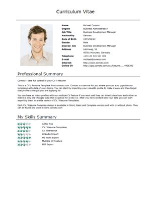 format of a normal cv free cv templates normal short download comoto