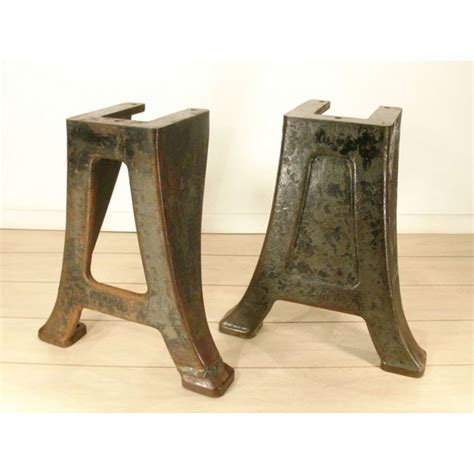 vintage industrial table legs cast iron metal legs pair