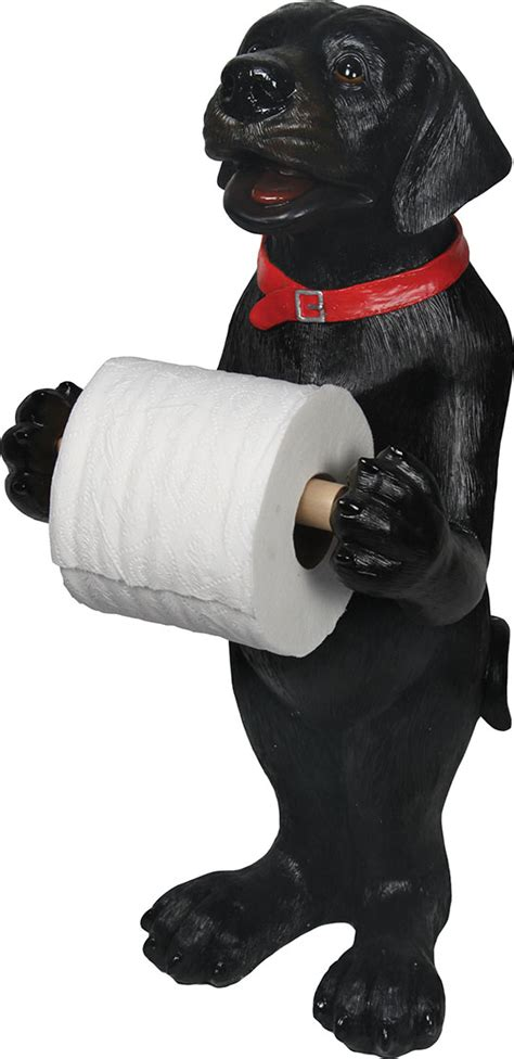 Dog Toilet Paper Holder standing black lab toilet paper holder