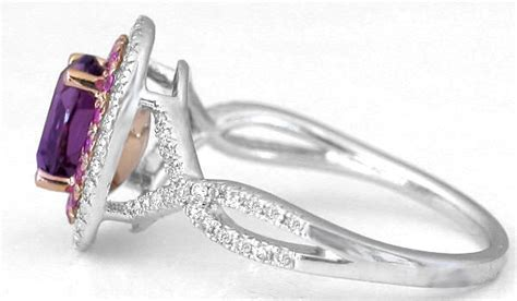 unique amethyst pink sapphire halo engagement ring