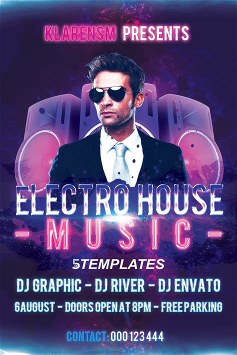 club house music download electro house music flyer free psd template by klarensm on