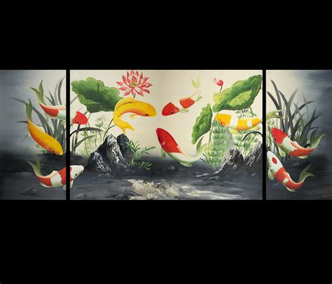 feng shui painting modern abstract art koi fish feng shui painting japanese