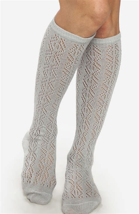 knitted knee high socks knitted knee high socks in gray dailylook