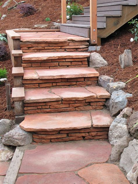 Flagstone Patio Steps by Stacked Flagstone Steps And Patio Traditional