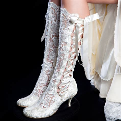 Stiefel Hochzeit by Evangeline Elliot Ivory Vintage Lace Knee High Wedding
