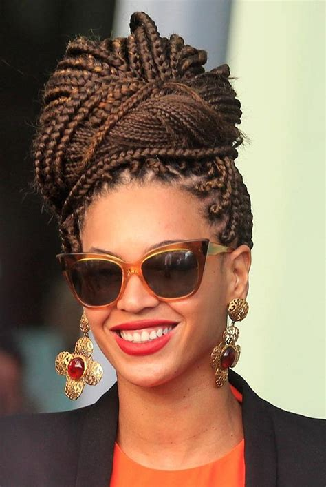 how to do a bun with braid box braids bey s box braid bun poetic justice box braids plaits