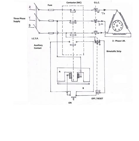 circuit diagram of dol starter k