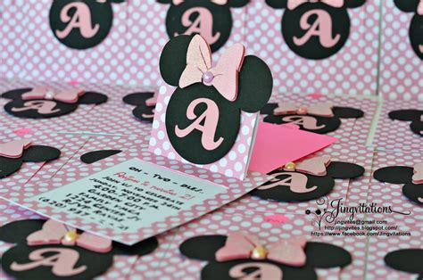 Handmade Minnie Mouse Invitations - jingvitations cricut handmade minnie mouse pop up invitations