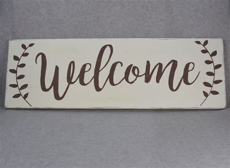 Handmade Welcome Signs - welcome with laurel sprigs wood painted sign for home