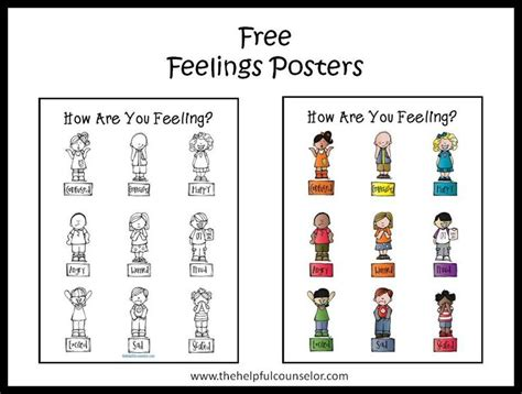 free feelings poster and coloring page coloring