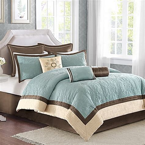 madison park juliana comforter set madison park juliana 9 piece comforter set in blue bed