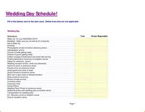 Wedding Day Schedule Template by 5 Wedding Day Schedule Template Expense Report