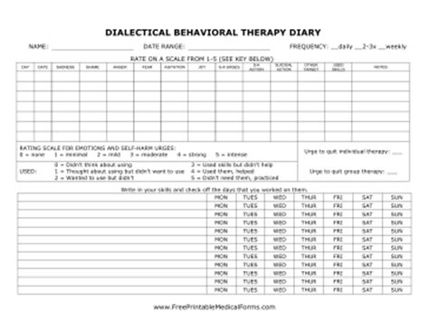 diary card template printable dbt diary