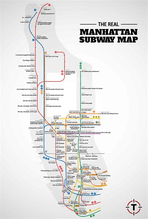 subway map for manhattan the real manhattan subway map huffpost