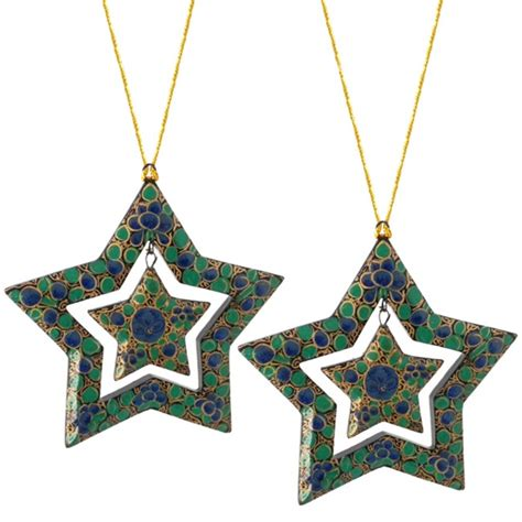 fair trade papier mache double star ornaments set of 2