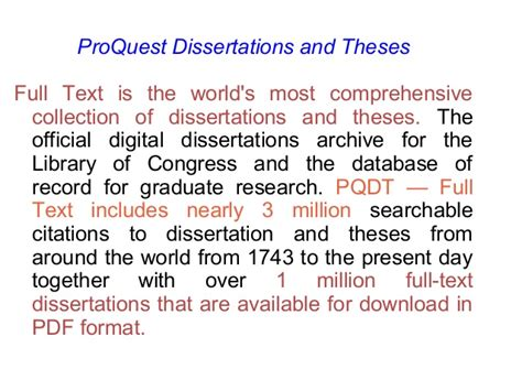 database of dissertations dissertation database search