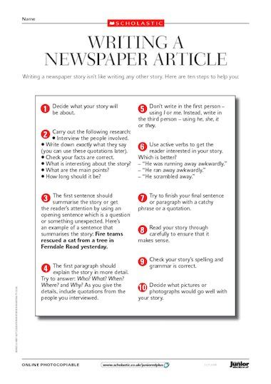 how to write a news paper article writing a newspaper article tips primary ks2 teaching