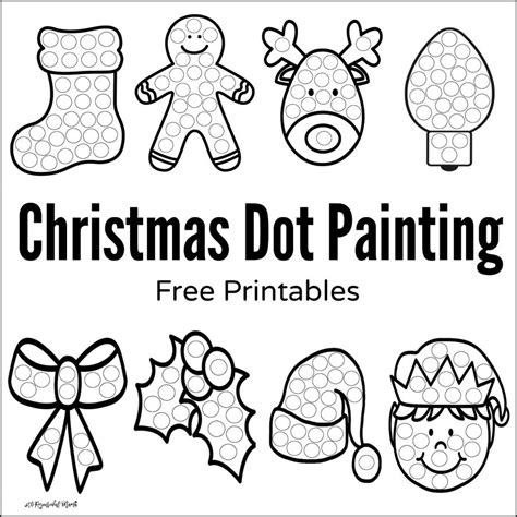 Christmas Dot Painting Free Printables The Resourceful Mama Painting Sheets
